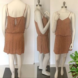 Guess Silver Beaded Sleeveless Pink Nude Dress